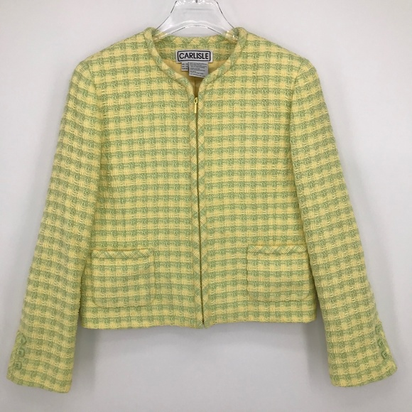 Carlisle Jackets & Blazers - Carlisle Tweed Yellow & Green Zip Front Blazer 10